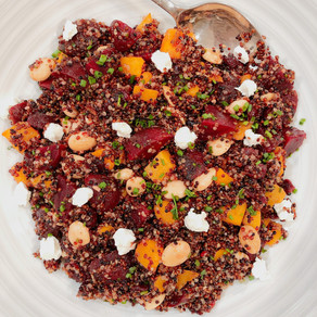 When Healthy Meets Delicious: Beet and Butternut Squash Tri-Color Quinoa Salad with a Maple Dressing