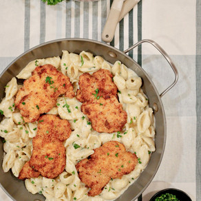 When Two Become One: Garlic and Chive Alfredo Shells with Air Fryer Parmesan Crusted Chicken Thighs