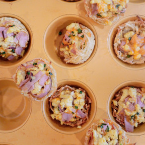 When Your Morning Bowl of Cereal Just Ain't Cuttin' It: Fun Size Hash Brown Ham and Egg Nests