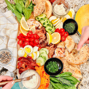 A Breakfast Board That Is Sure To Brighten Up Your Morning: Bagels, Lox and all of the Fixins