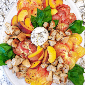 Deconstructed Peach Panzanella Salad with Heirloom Tomatoes, Burrata and Basil