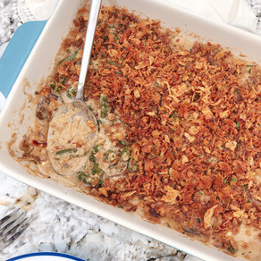 A Thanksgiving Staple: Green Bean Casserole with Caramelized Onions and Mushrooms