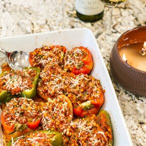 When Life Gives You Peppers, Stuff Them: Stuffed Peppers with Ground Turkey and Turmeric Cous Cous