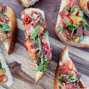 Capturing the Essence of Summer: Heirloom Tomato Bruschetta on Buttery Sourdough Toast