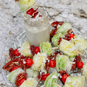 A Easy, Healthier Snack or Appetizer on Game Day: Wedge Salad Skewers with Homemade Ranch Dressing