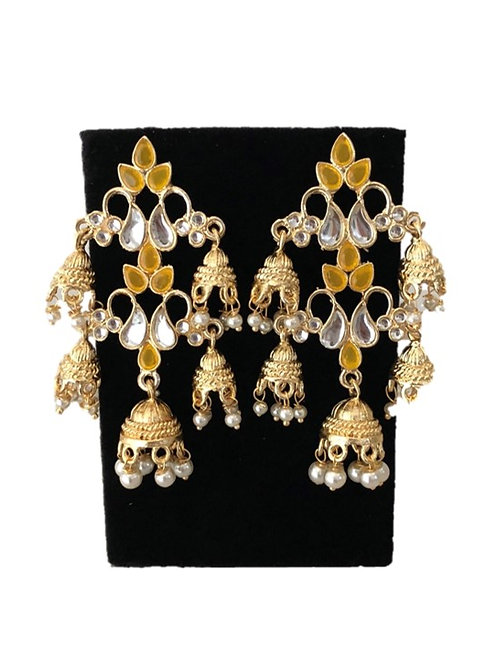 Yellow indo-western jhumki detail earrings