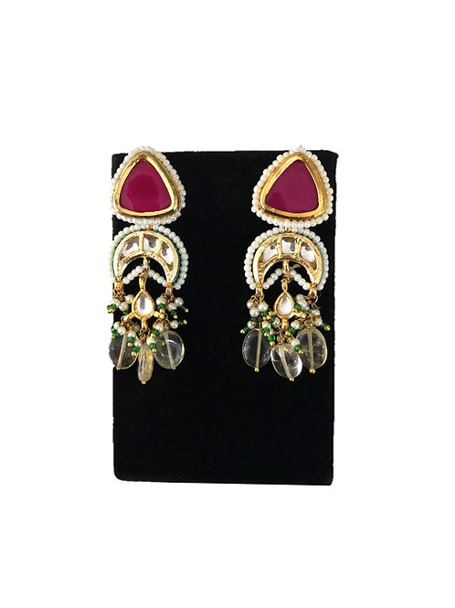 Pink triangle kundan danglers