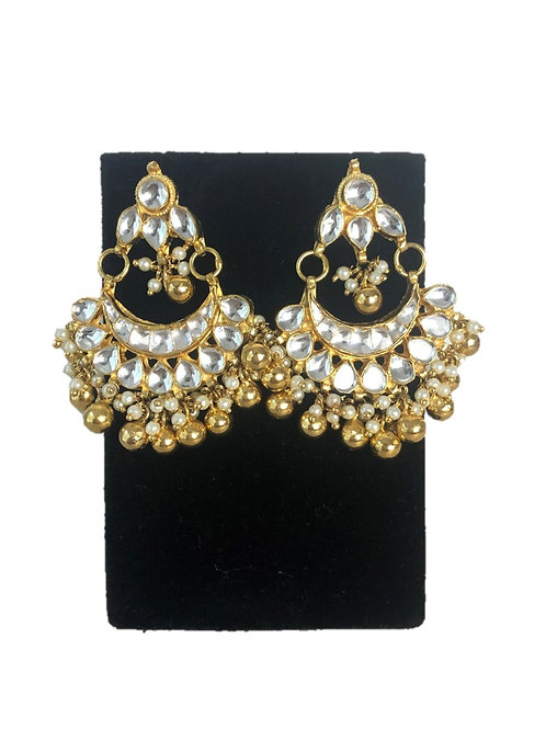 Kundan chaand earrings