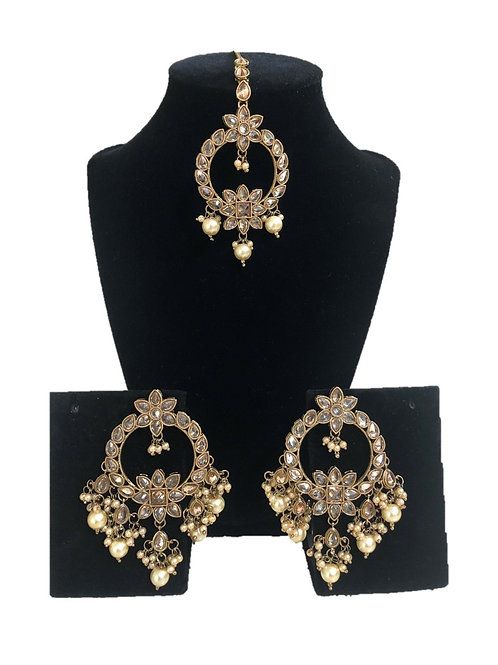 Noor tikka and chaandbali earring set