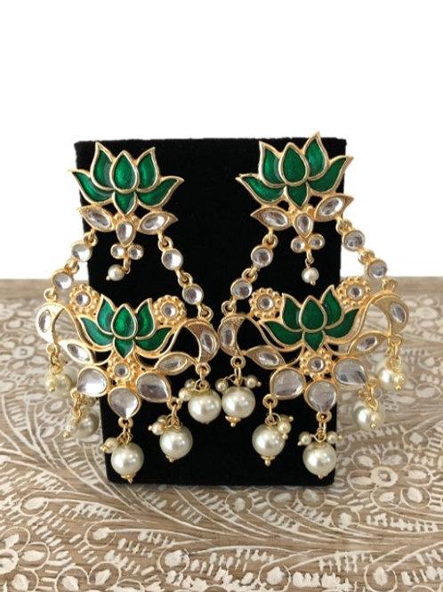 Green lotus indo-western earrings