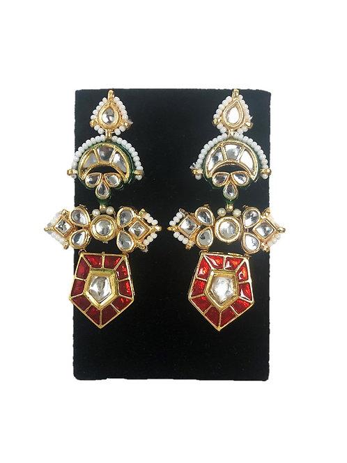 Red geometric kundan earrings