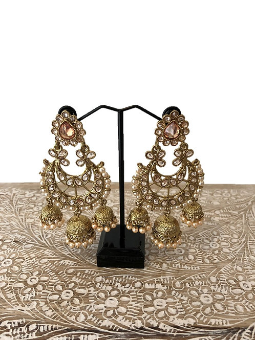 Chaand earrings with pearl jhumki