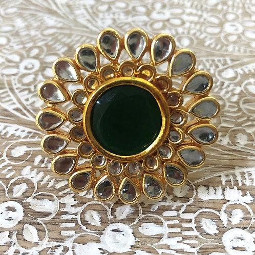 Green mandala ring
