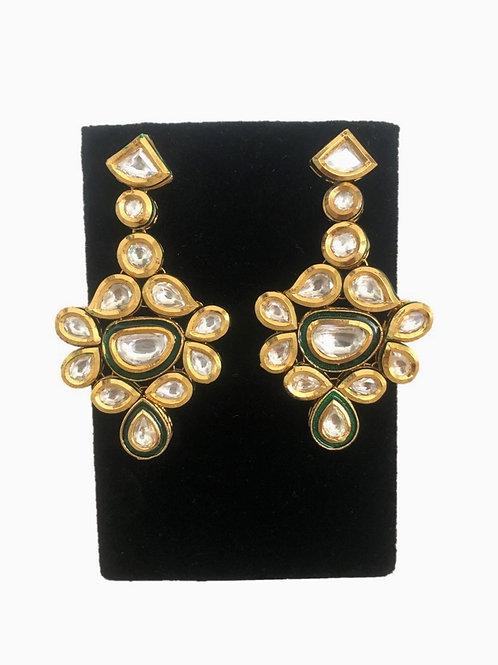 Green kundan drop earrings
