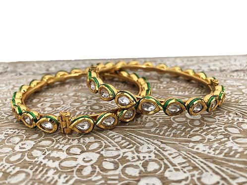 Kundan green bangles with screw fastener