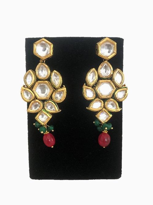 Ruby-green kundan earrings