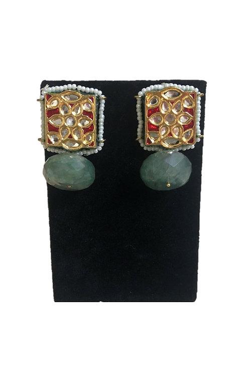 Red meenakari earrings