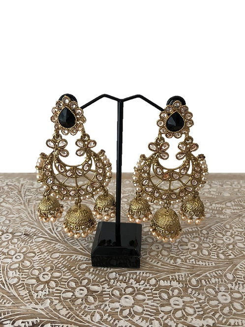 Chaand earrings with black stone and pearl jhumki