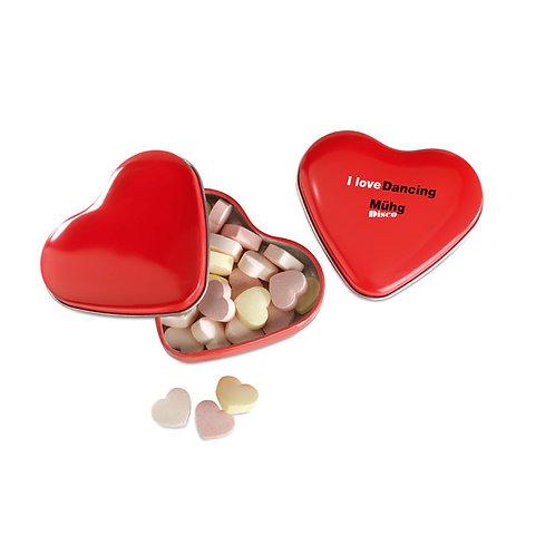 Herzförmige Bonbons in Herzdose. Inhalt: 24 g