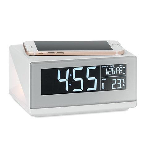 LED-Uhr mit induktiver Ladestation.