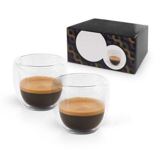 2 teiliges Espresso Set. Glas. Zwei Doppenwandige Becher