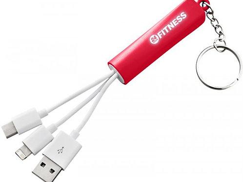Leuchtendes 3-in-1 Ladekabel mit Schlüsselanhänger