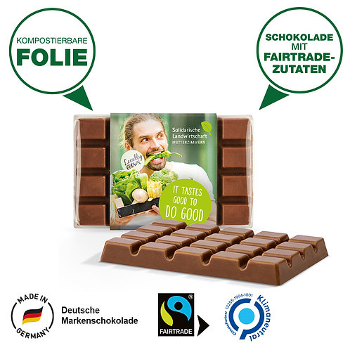 Design Schokolade mit Fairtrade Siegel