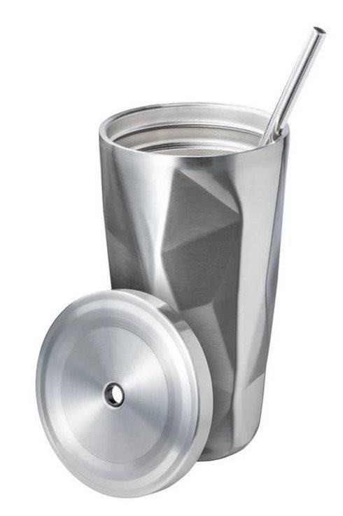 Thermo-Edelstahlbecher mit Strohhalm 500ml