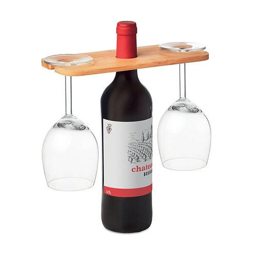 Bambus-Halter für 1 Weinflasche und 2 Gläser
