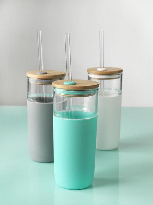 Arlo 600 ml Glasbecher mit Bambus Deckel
