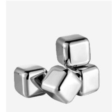 Set mit 4 Eiswürfel aus rostfreiem Stahl 304 und Eiskristallen
