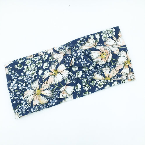 Navy Floral Infinity Band