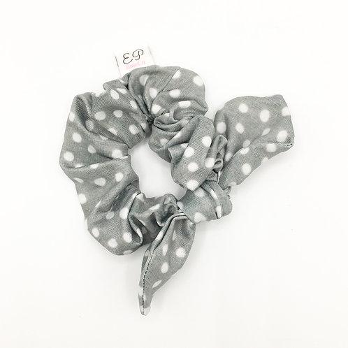 Grey Dot Scrunchie