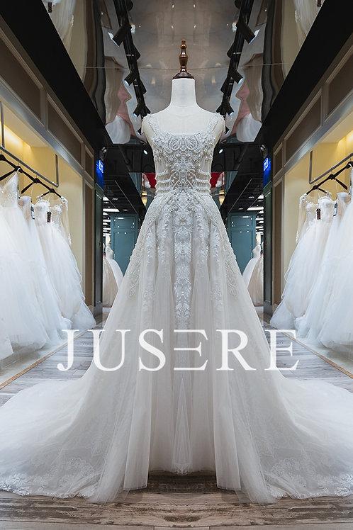 Ivory color A-Line scoop neck applique beading chapel train wedding dress
