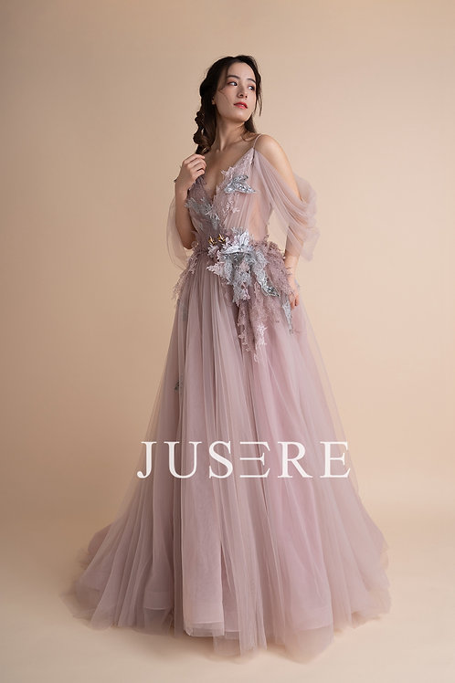 Hotsale fairytail pink flowing applique lace evening gown with sleeves