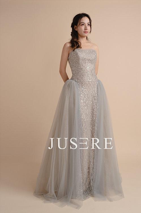 Silver strapless neckline beaded ball gown evening dress