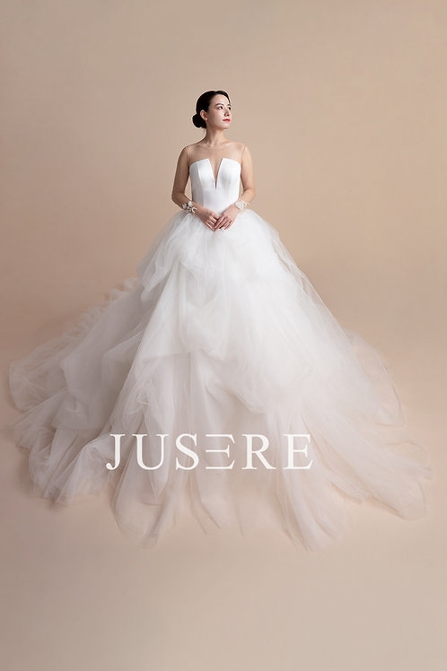 Sexy Illusion rosette back puffy pricess ball gown wedding dress