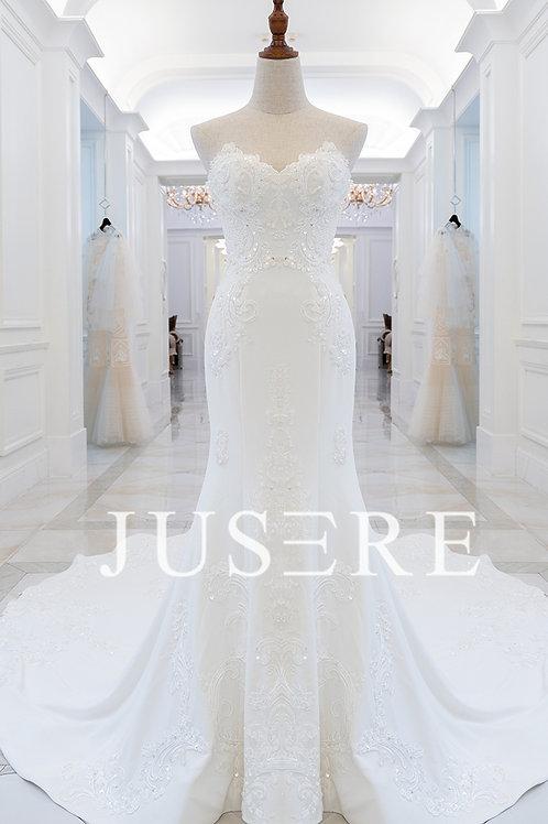 Ready to ship heavily crystal beaded ivory crepe mermaid wedding dress