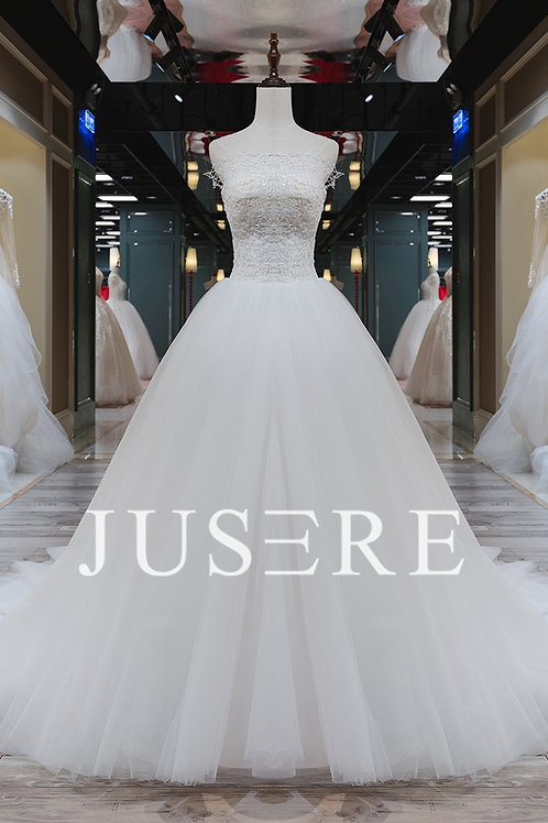 Ivory color ball gown strapless neck lace applique chapel train wedding dress