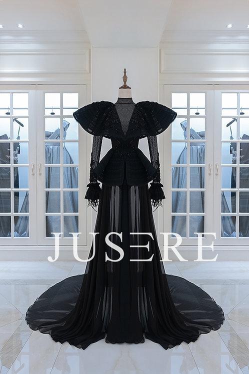 luxury black high collar long sleeves beading celebrity evening dress