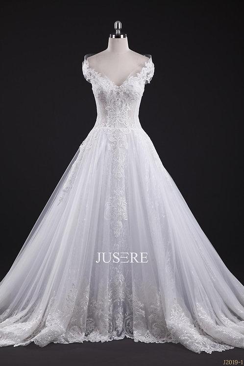 Elegant ivory off shoulder lace applique European style a line wedding dress