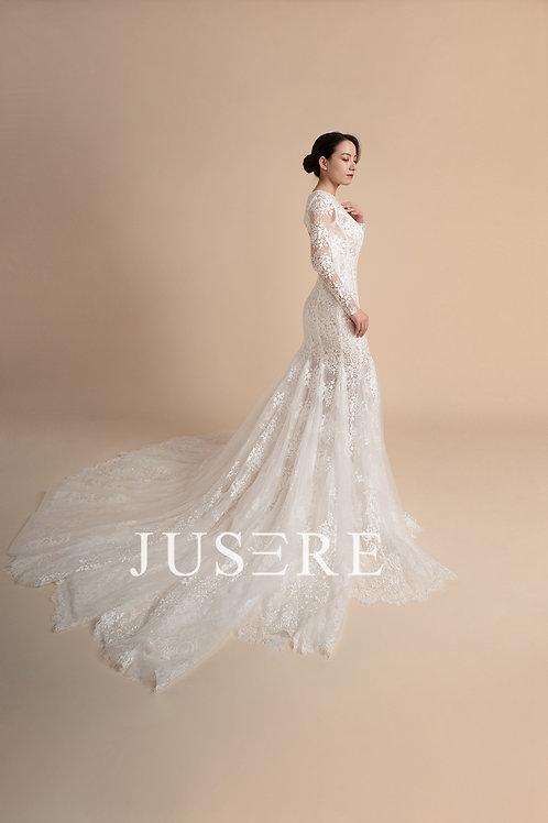 Elegant mermaid design long sleeve plain lace dress
