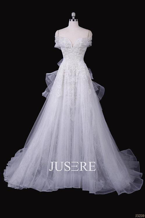 Graceful ivory scoop off the shoulder applique beaded a line wedding dress