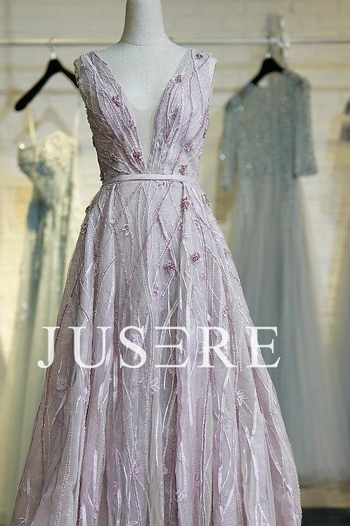 Purple color A-Line plunging V-neck appliques beading low v back evening dress