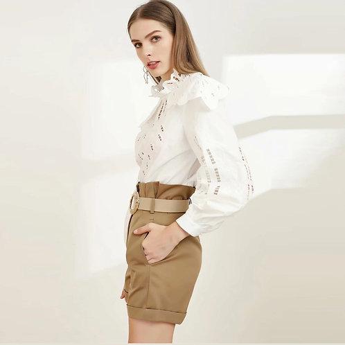 White shirt and high waist pants set