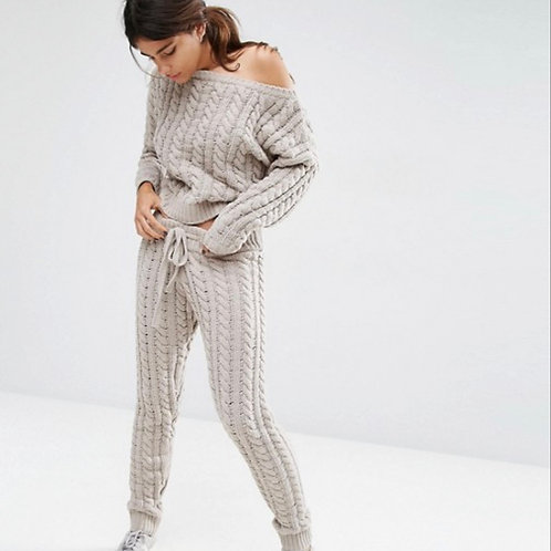 Off white knit cable tie luxury loungewear