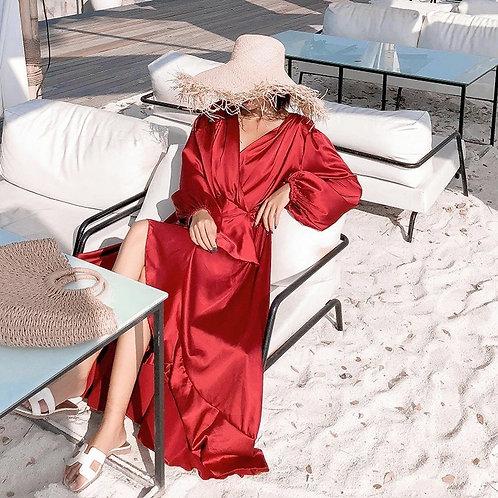 Red Wrap silk dress