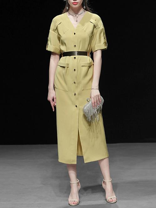 Mustard Green Chiffon button up dress