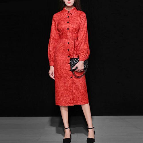 red polka dot lantern sleeve dress