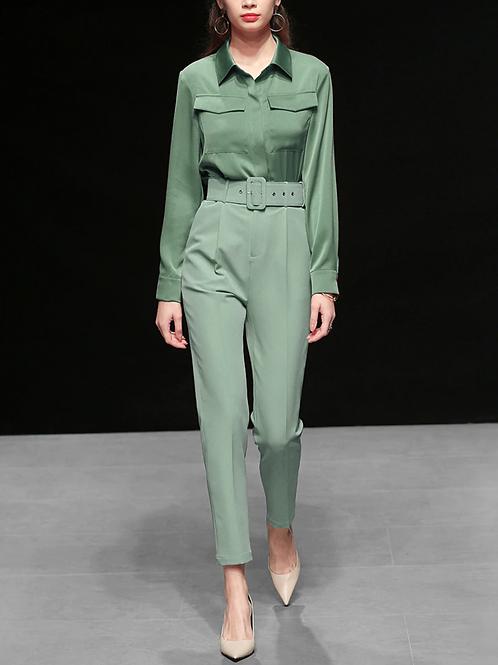 Dark Mint Green Silk Shirt Top and Harem pants set